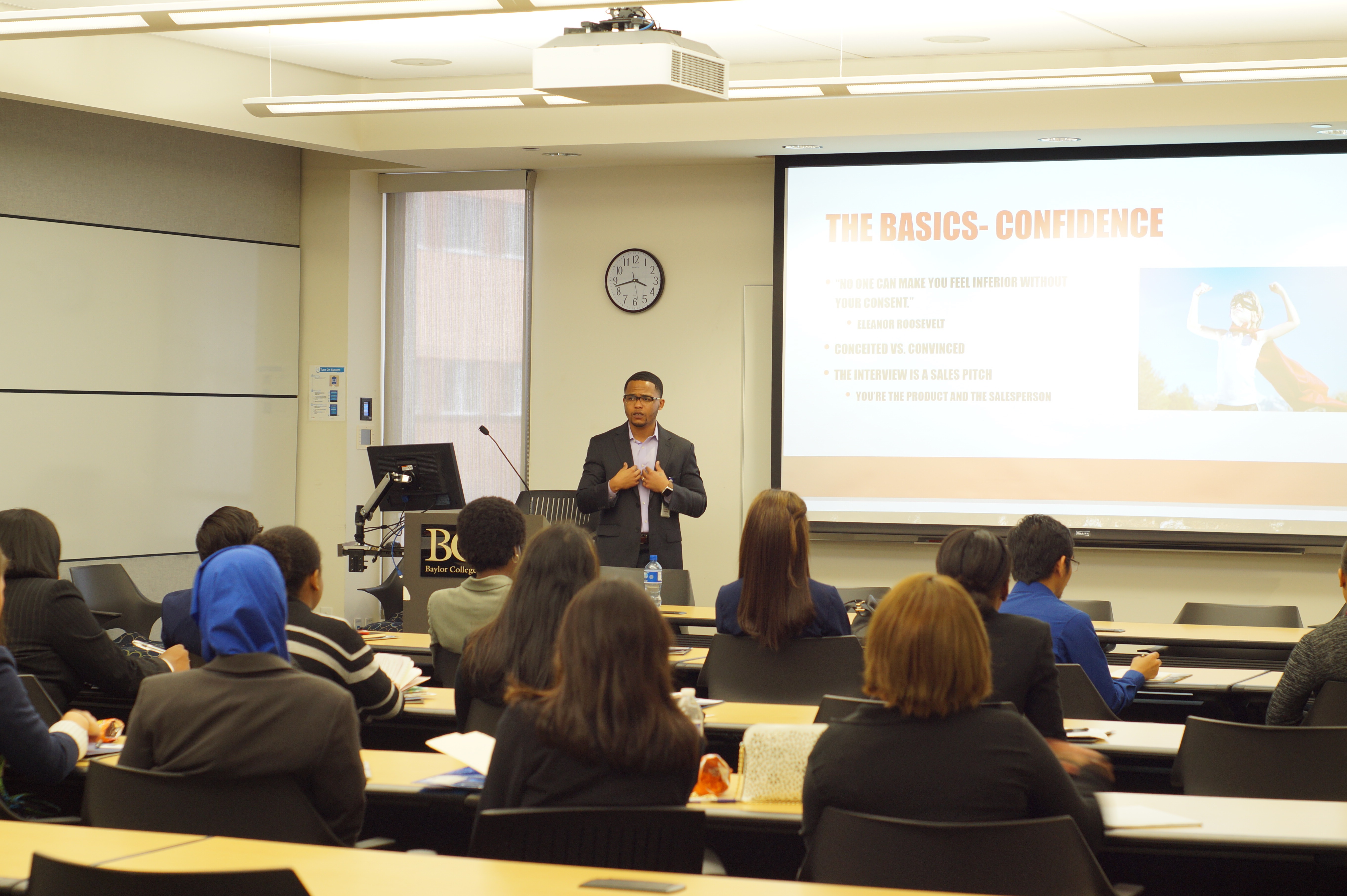 Attendees at a Diversity Admissions Symposium breakout session focuses on how to have a successful medical school admissions interview.