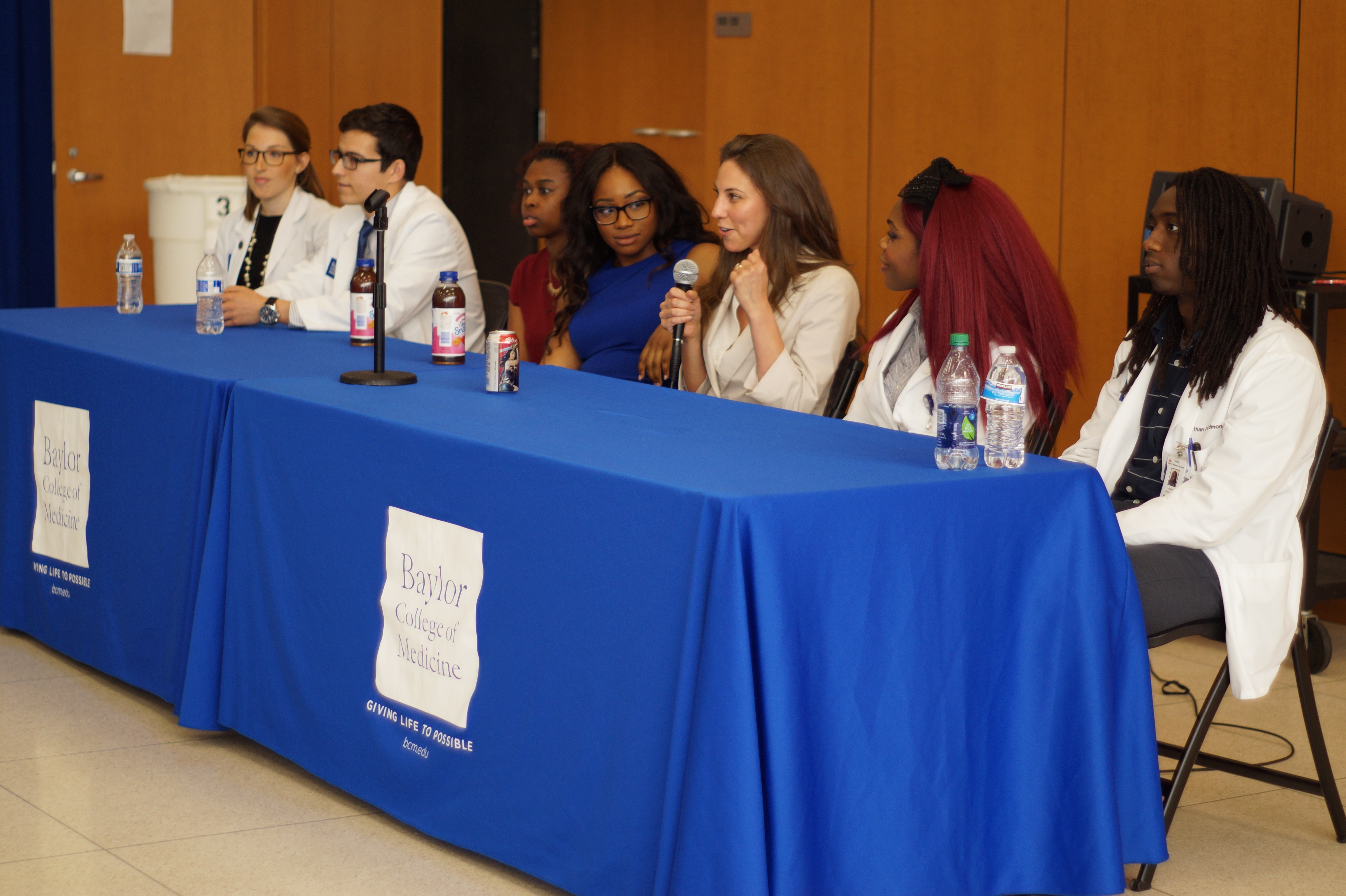 Panel of current medical school, biomedical science, and allied health science students offering advice for admission, academic success, wellness, and professional development.