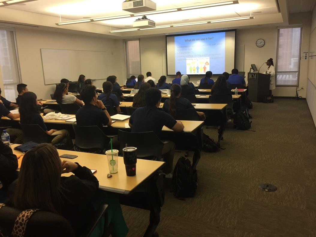 We give talks to students from Michael E. DeBakey High School about anxiety, depression, and professionalism on social media.