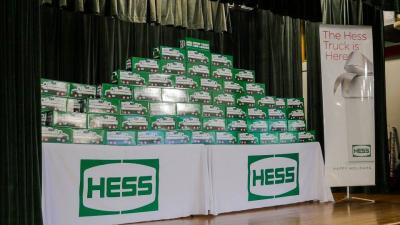 Baylor College of Medicine and Hess Corp. give away free Hess Toy Truck STEM (science, technology, engineering, mathematics) kits for teachers to use in their classrooms. Image from 2017 give away.
