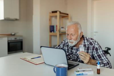 Senior Man researching health topics