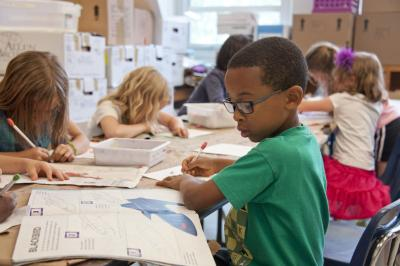 Elementary school children in a classroom
