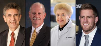 Nobel Laureate Dr. Robert Lefkowitz, Houston Emergency Medical Services Director Dr. David Persse, Dr. Alice McPherson and Houston Texans star J.J. Watt.