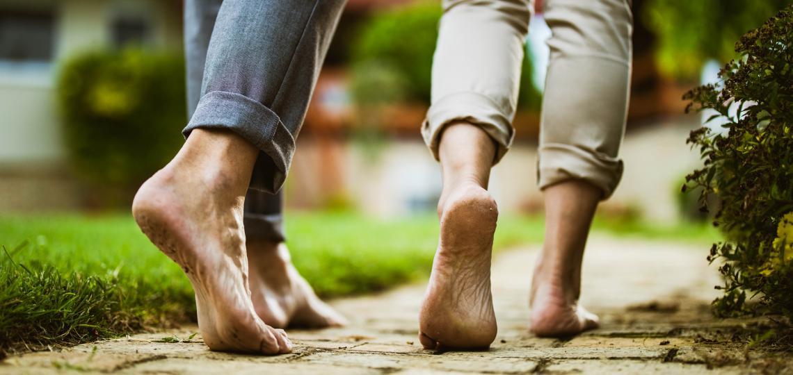 people walking barefoot