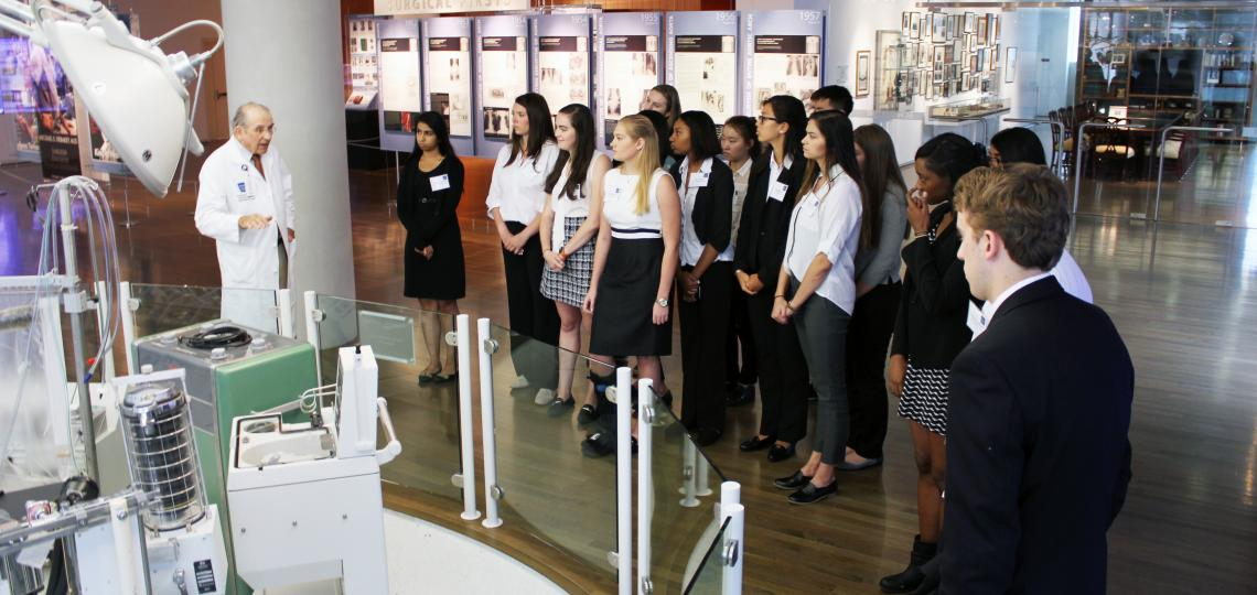Dr. Charles McCollum gives a tour of the DeBakey Library and Museum