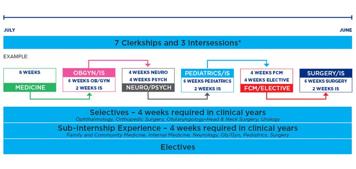 Diagram of fall clinical sciences curriculum for M.D. students