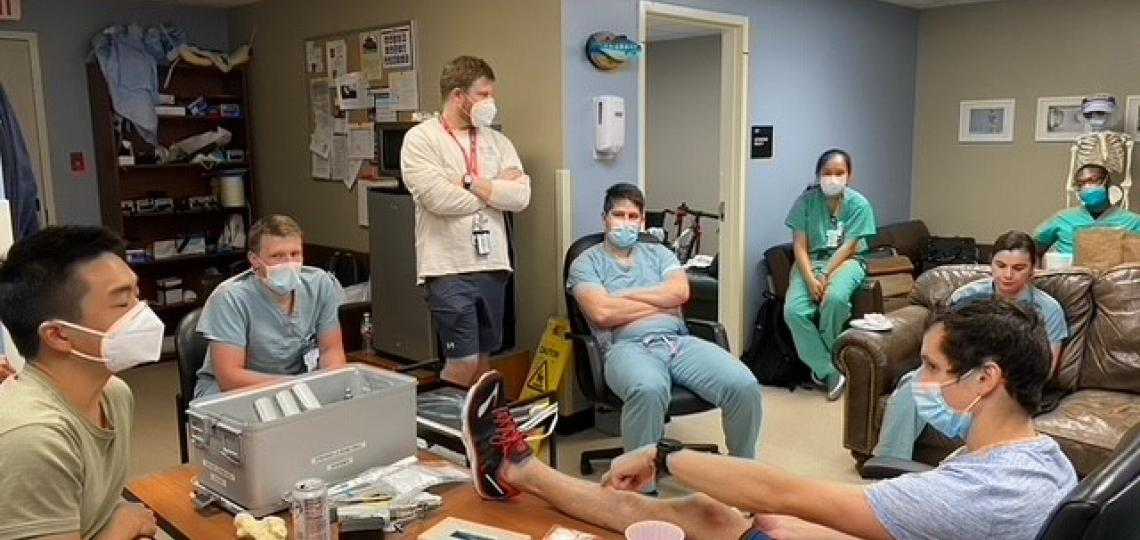 Orthopedic residents practicing surgical skills