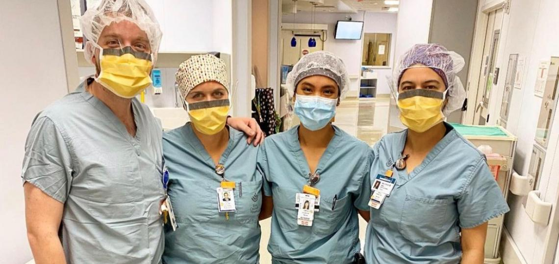 Drs. Brennan Lang, Allison Conn, Tamisa Koythong, and Mona Homafar prepare for a day of service at the Pavilion for Women.