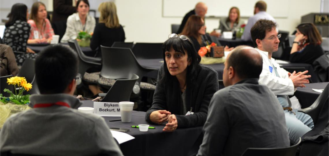 Dr. Bozkurt speaks with faculty members