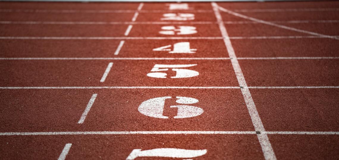 Close up of running track