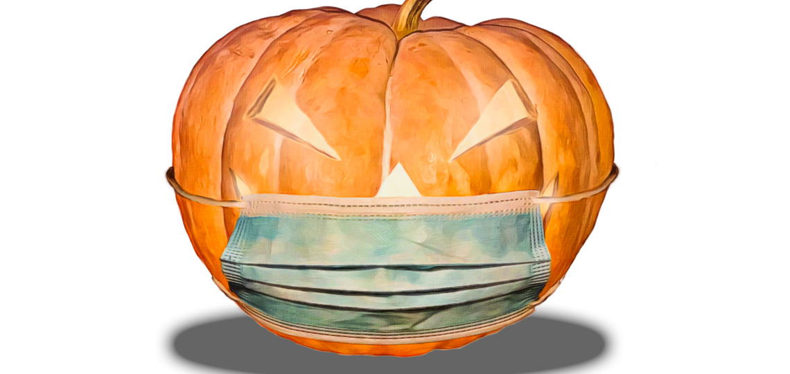 A drawing of a jack-o'-lantern wearing a medical face mask