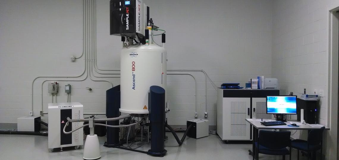 The Avance III HD 800 MHz spectrometer operates three RF channels plus deuterium using a quadruple resonance inverse detection QCI CryoProbeTM.