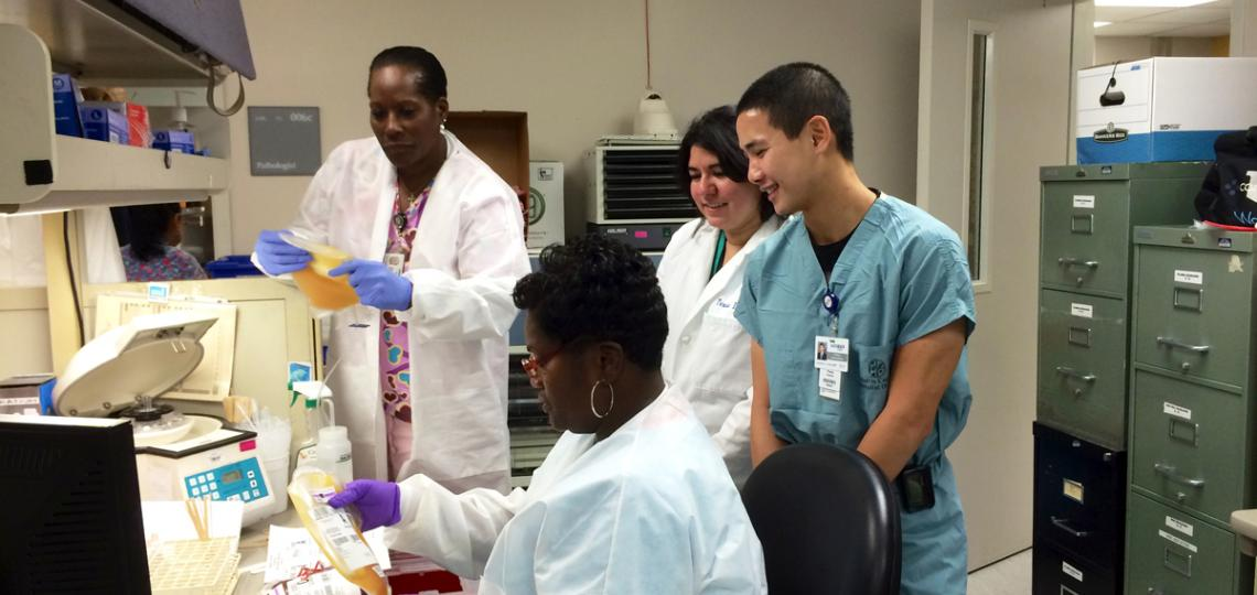 Blood bank technologists teach residents and fellows about necessary labels on blood products.