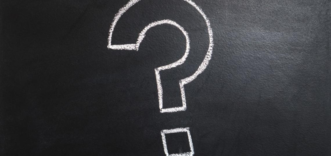 Single chalkboard question mark
