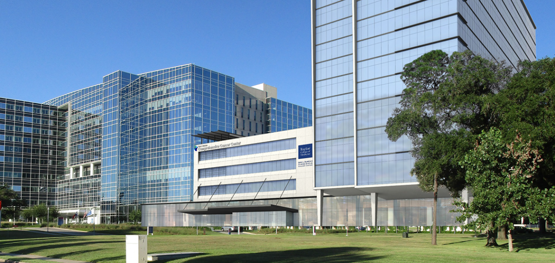 Rendering of the McNair Campus with a view of the Dan L Duncan Comprehensive Cancer Center.