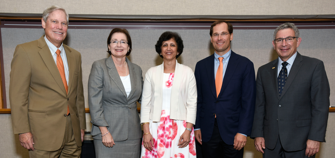 From left, Corbin J. Robertson Jr., Will Robertson, Dr. Anita Deswal, Dr. Anne Gill and Dr. Paul Klotman at the Faculty Awards Day ceremony.