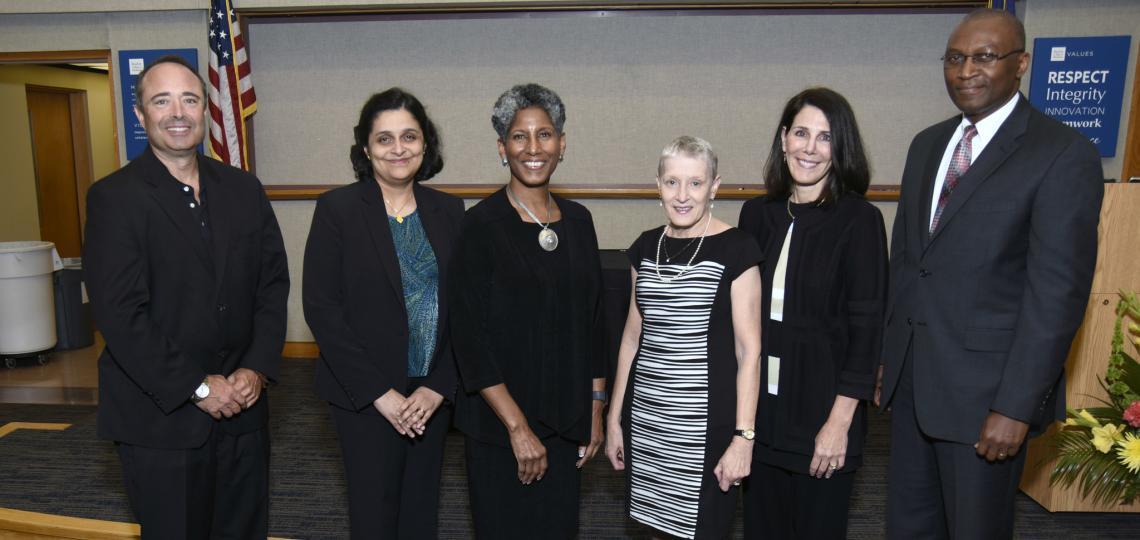 Master Clinician Award winners Dr. Glenn Levine, Dr. Sheila Loboprabhu, Dr. Nancy Glass, Dr. Evelyn Paysse and Dr. Oluyinka Olutoye with Provost Alicia Monroe.