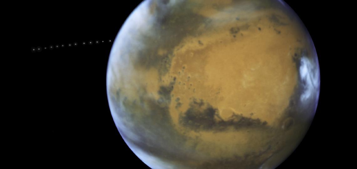 The sharp eye of NASA's Hubble Space Telescope has captured the tiny moon Phobos during its orbital trek around Mars.