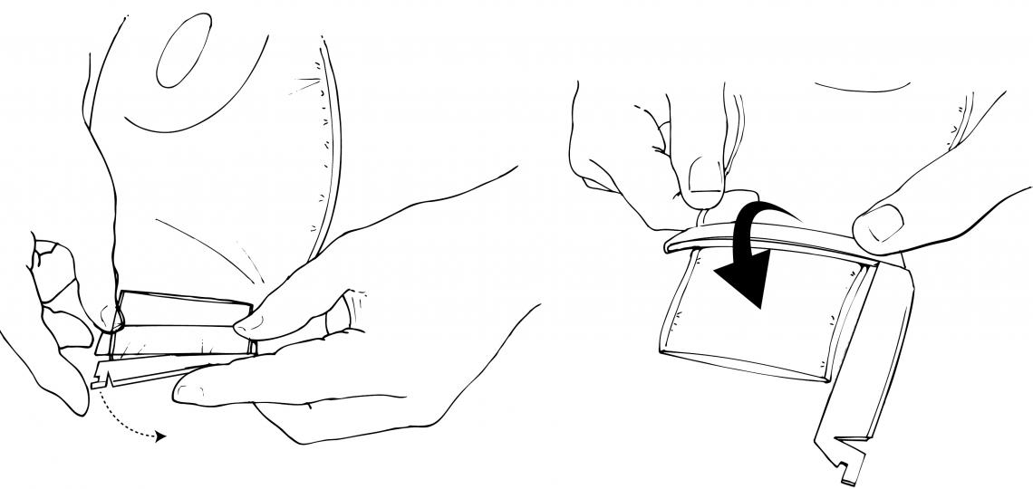 Opening and emptying an ostomy pouch. Illustration by Scott Holmes
