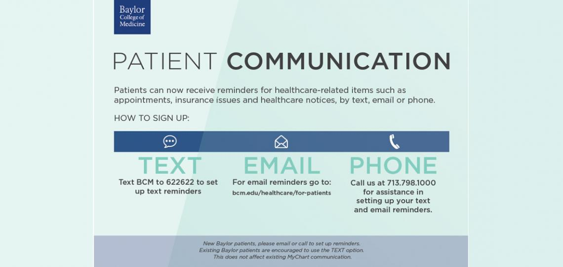 Patient Communication Card to sign up for healthcare reminders.