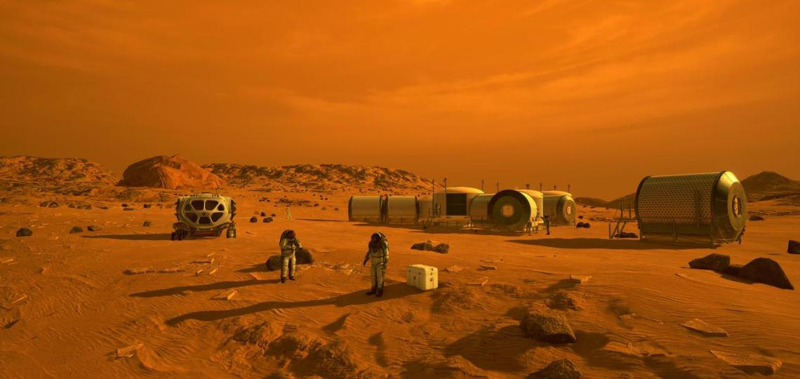 An artist's concept of the first humans on Mars.