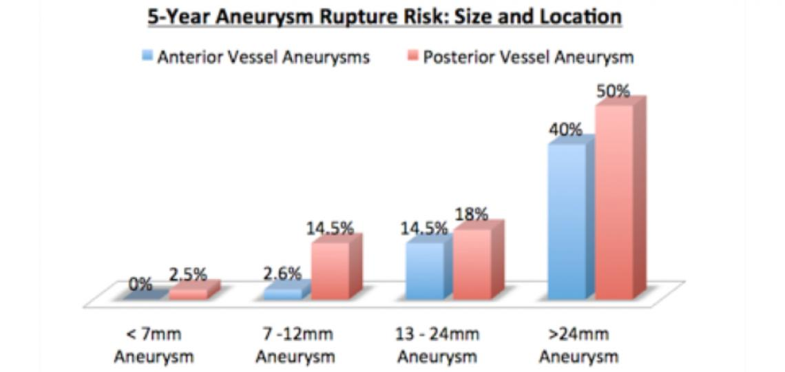 5-Year Aneurysm Rupture Risk: Size and Location