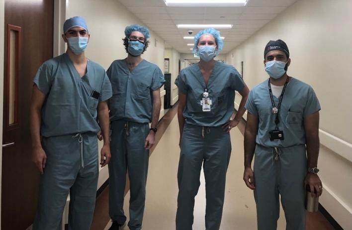 Current R3s Diego C., Stephen L., and Ashley E. during their R2 rotation on Ben Taub IR with recently graduated Iftikhar Burney as their R4 senior.