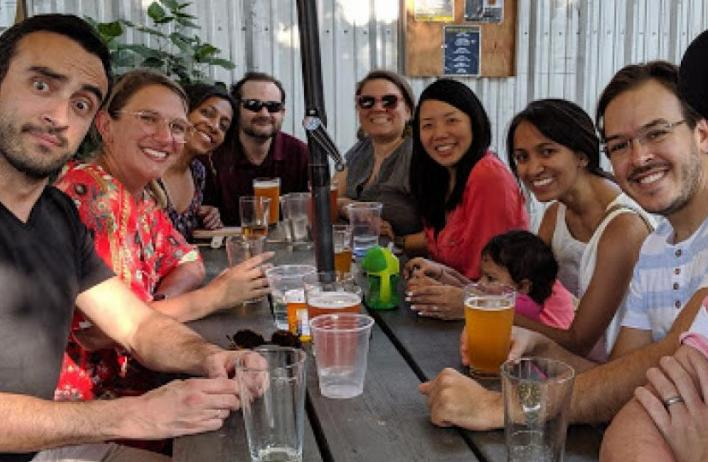 Our residents and faculty at dinner (prior to the COVID-19 pandemic)