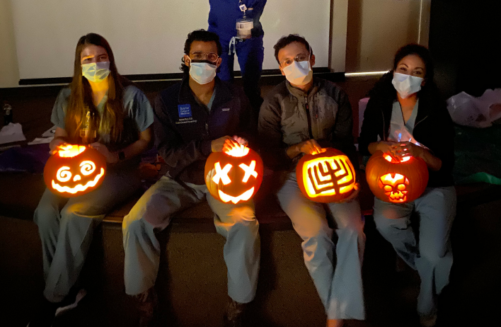 Residents get creative carving pumpkins for Wellness Wednesday!