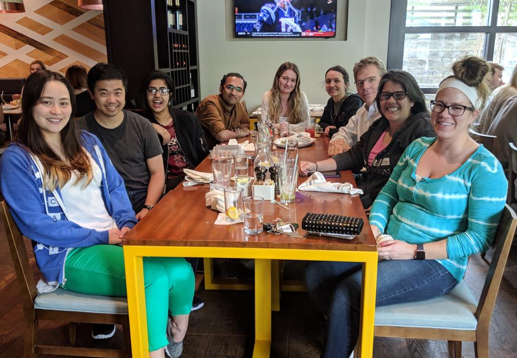 Lab Lunch and celebrating funding of Tom's.