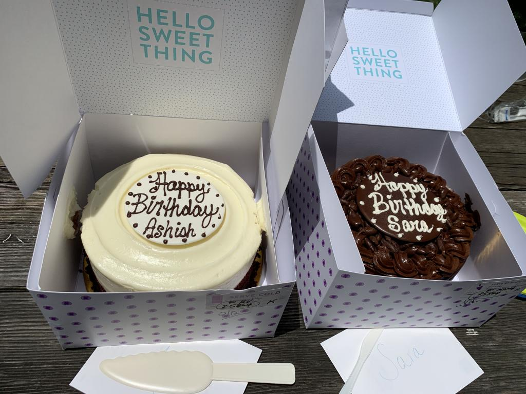 B-day cakes for Sara and Ashish! Overlapping birthdays means two cakes.