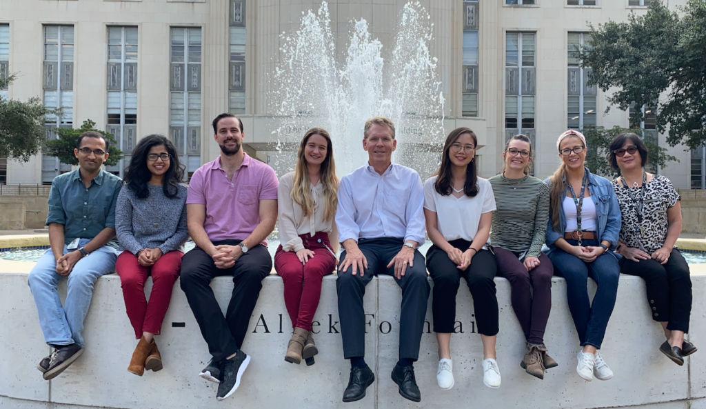 Cooper Lab members in front of the Alkek Fountain at Baylor College of Medicine, October 2019.