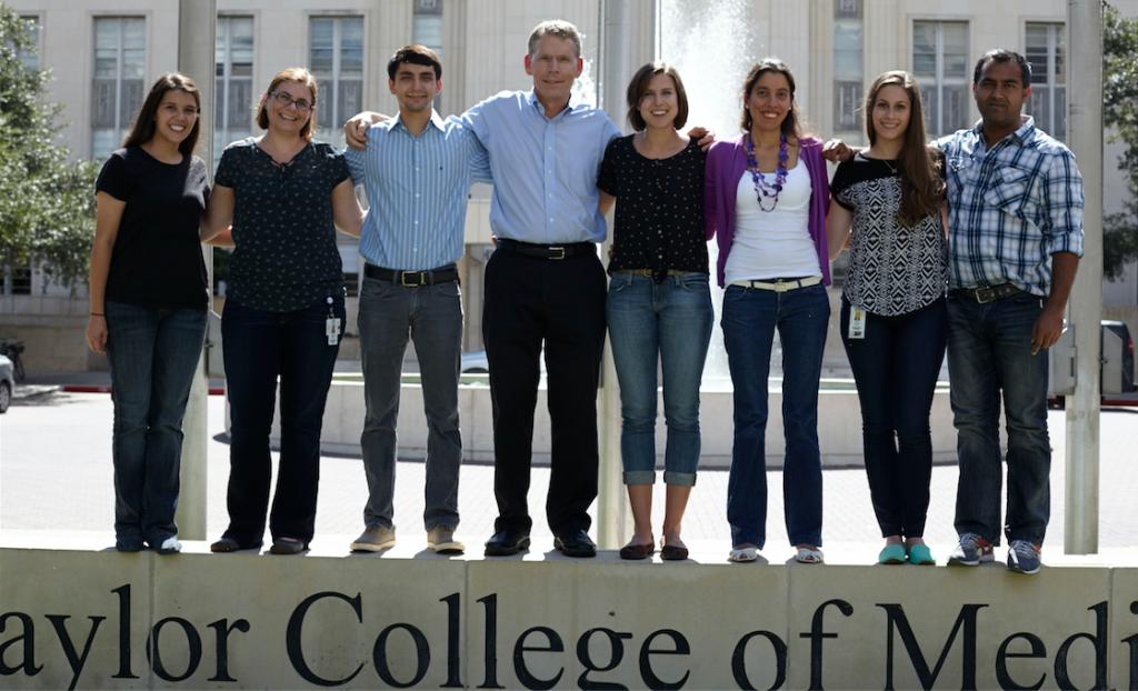 Cooper Lab members in front of Alkek Fountain, 2014.