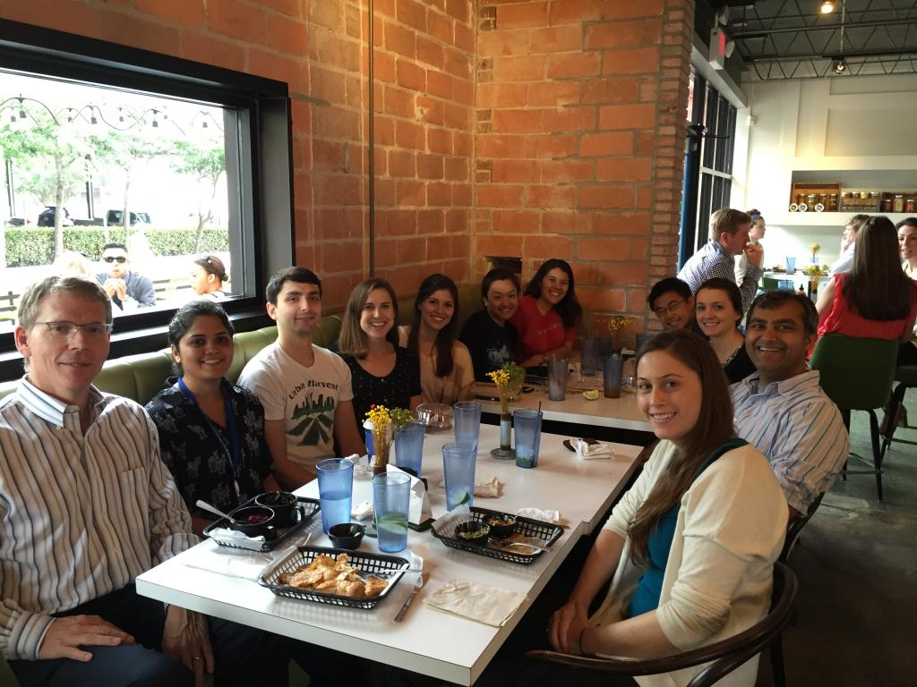 Lab lunch celebrating Ginny Morriss' grant being funded.