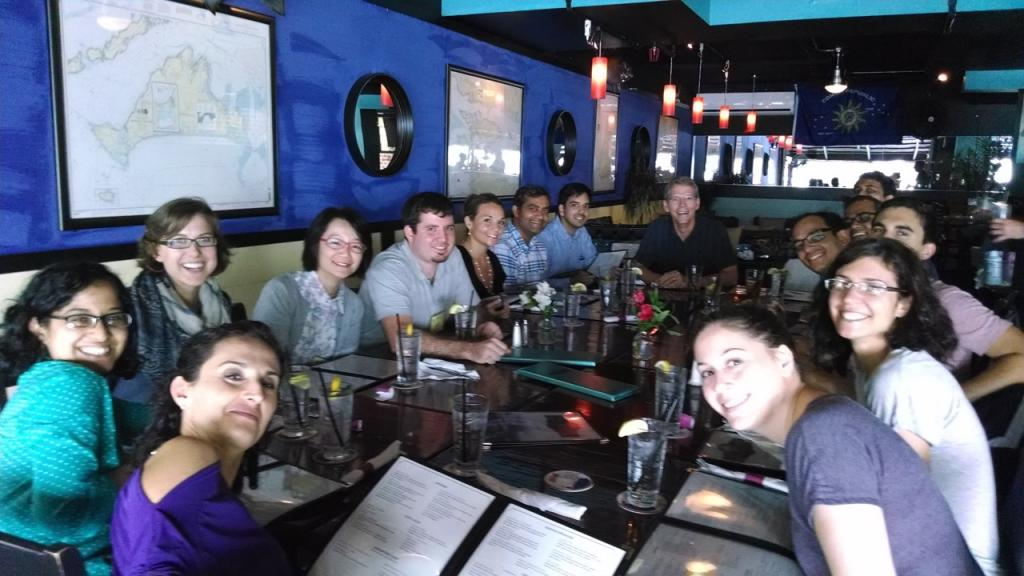 Lab Reunion:  Lunch for Cooper lab alumni and current members at the Gordon Research Conference, 2014.
