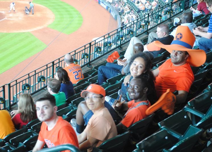 A lab group trip to a Houston Astros baseball game.