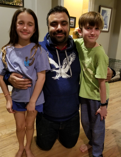 Ismail visiting the twins.