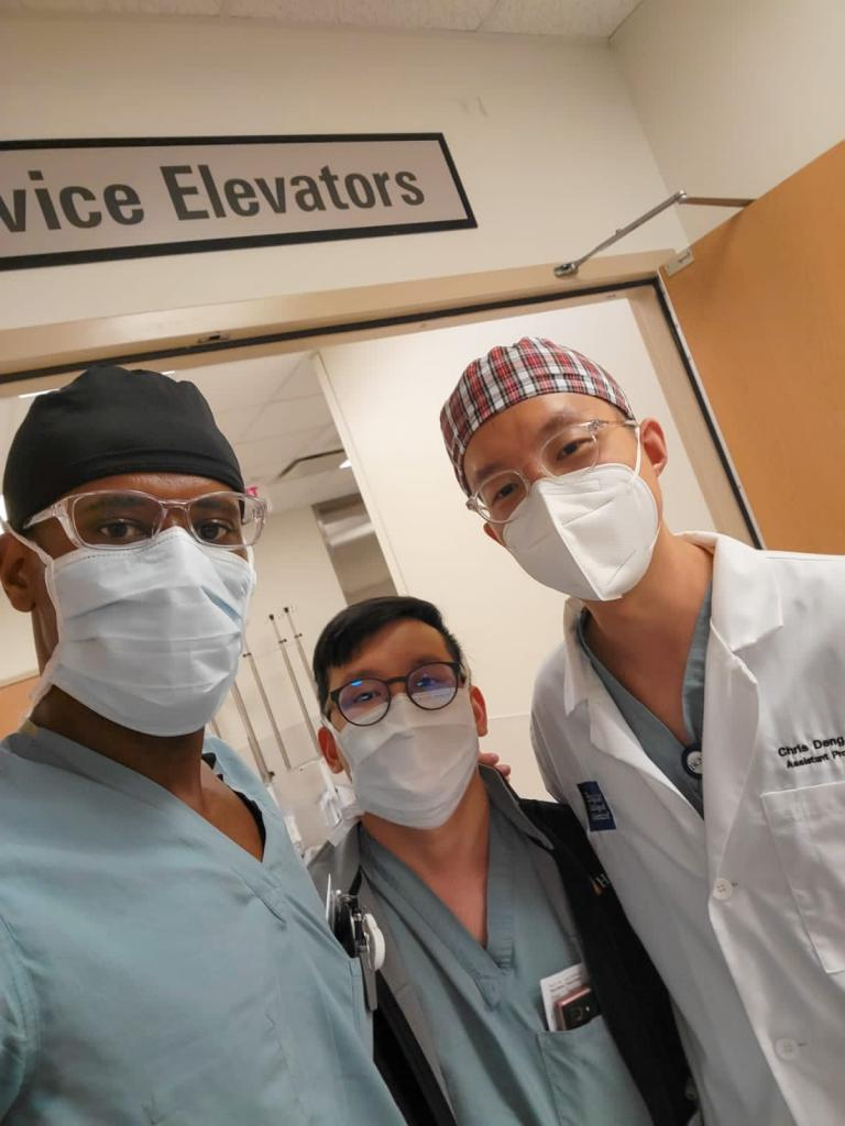 CA-2 residents are excited to run into ICU attending Chris Deng at Texas Heart Institute.