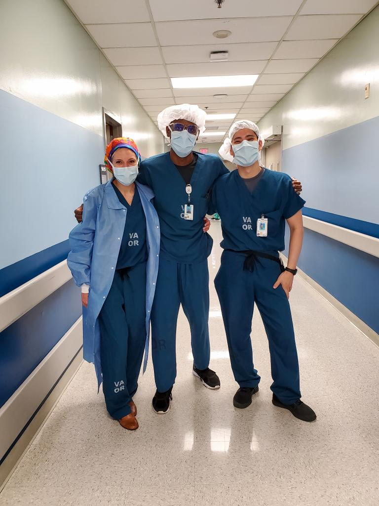 Residents Kelsi Curnow, Leshawn Richards and Alex Bui pose for the camera at the Debakey VA hospital.