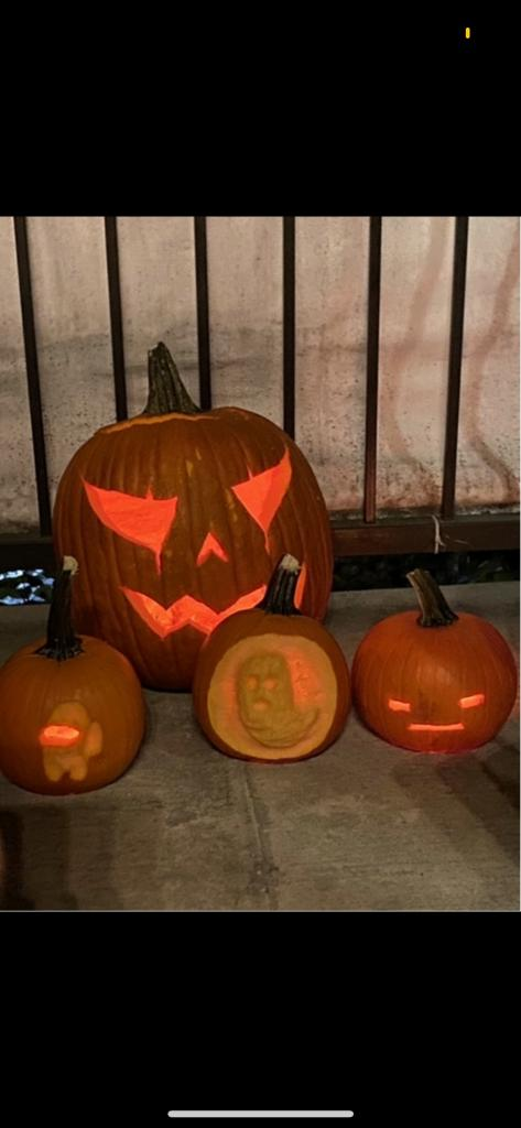Anesthesia residents practice their surgical skills at the BCM house pumpkin carving event