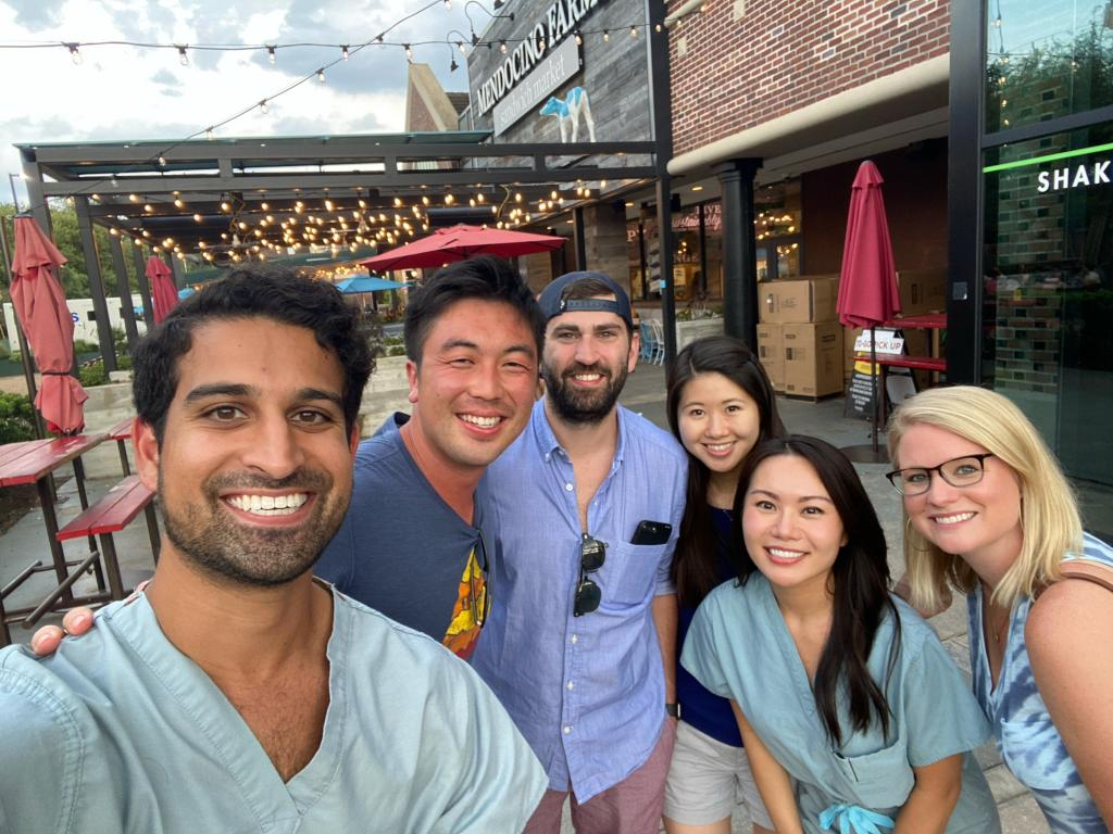 Residents enjoy burgers after a successful cardiac and critical care fellowship match!