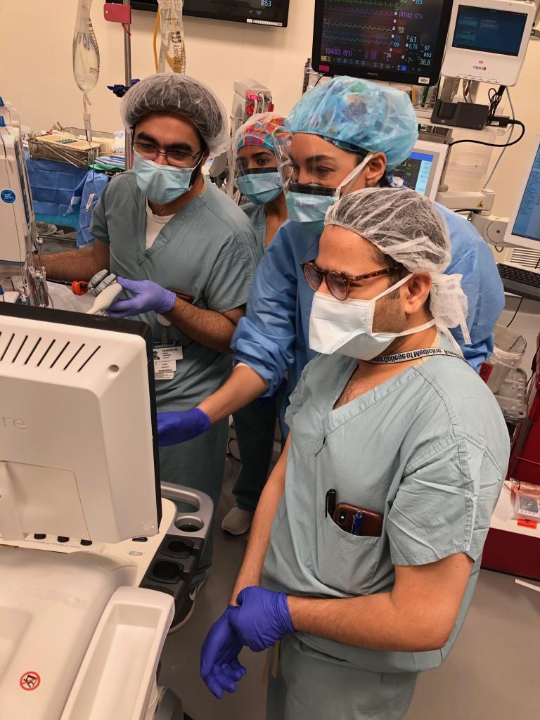 Residents learn valuable transesophageal echo skills with Dr. Nikolaidis.
