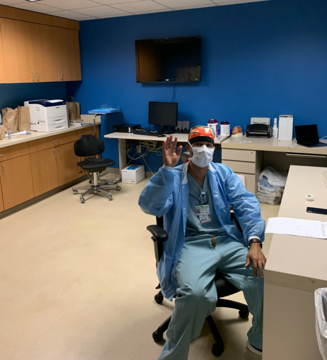 Dr. Khalifa takes a well deserved break on a busy call-shift at Texas Heart Institute