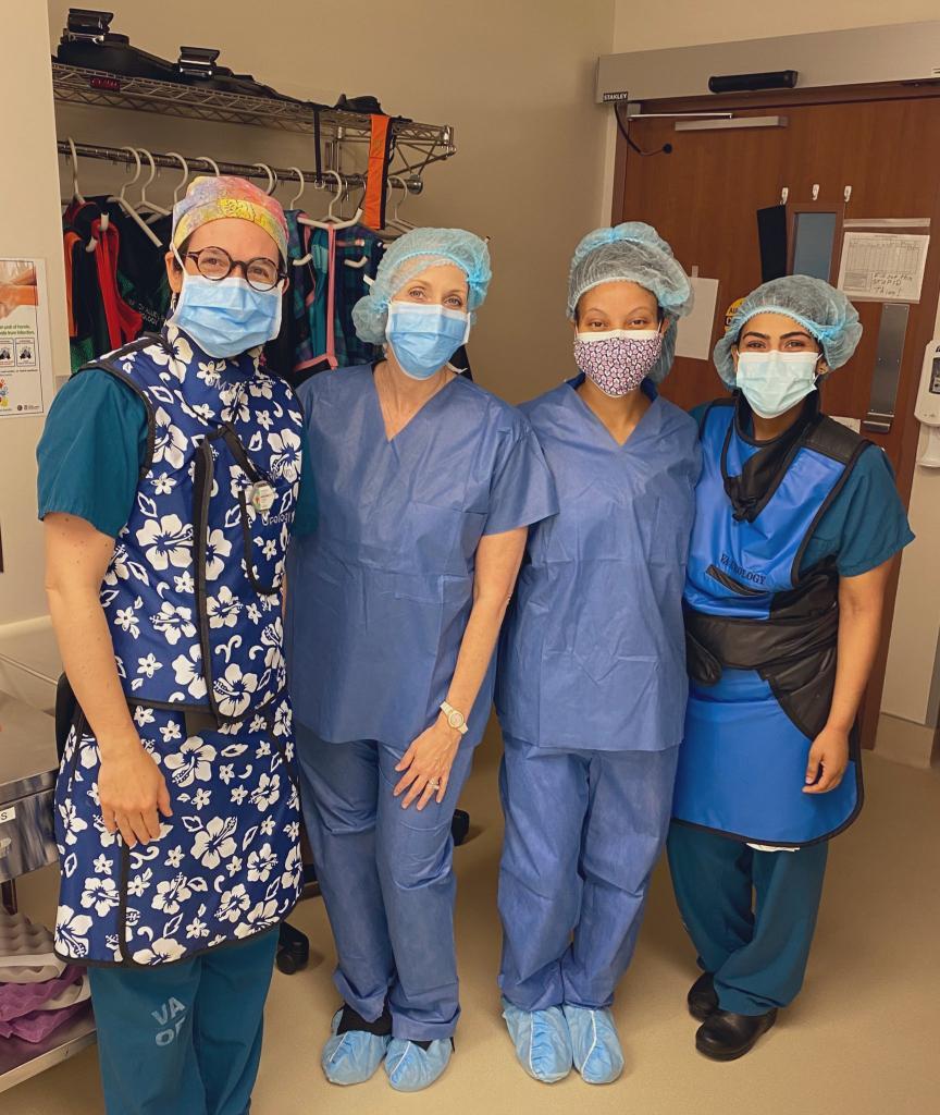 The VA Urology team celebrate the start of Jelmyto treatment for UTUC at the Michael E. Debakey VA Medical Center.