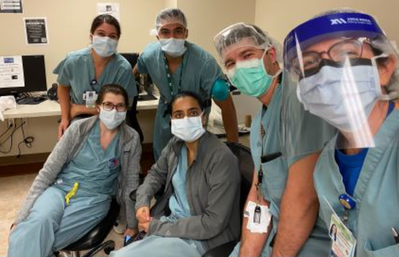 The residents and Dr. Jennifer Taylor together during a busy day in the OR.