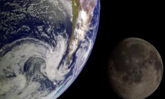 During its flight, NASA's Galileo spacecraft returned images of the Earth and Moon. Separate images of the Earth and Moon were combined to generate this view.