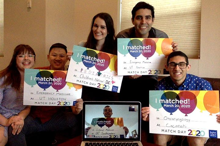 Students celebrating Match Day 2020 from their home.