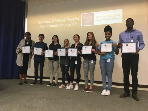 The final eight competitors in the First SMART Elevator Pitch Competition, 2019.
