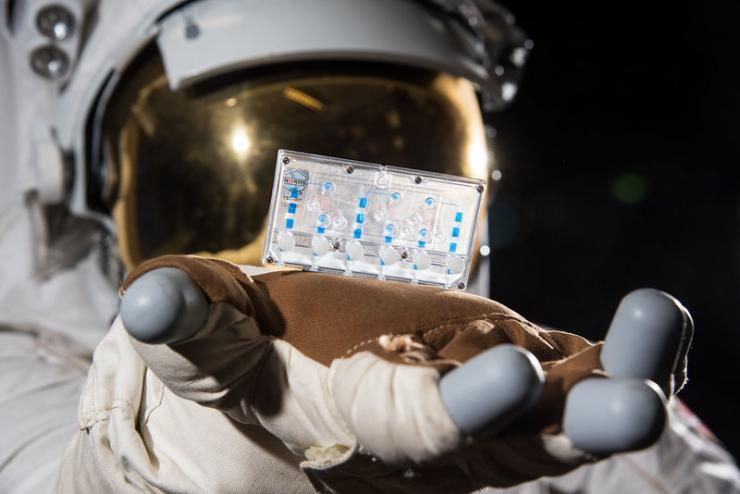 A space suit holds a tissue chip.