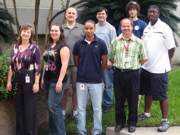 Left to right: Lynn Zechiedrich, Michelle Swick, Jonathan Fogg, Armand Brown, Jamie Catanese, Donald Schrock, Sam Regenbogen (rotation student), and Alex Brewer